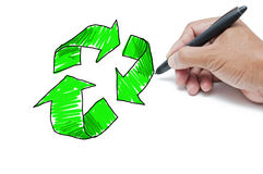 Green recycle drawing Stock Photos