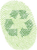 Green recycle fingerprint. Green recycle sign imprint in a fingerprint vector drawing eps10 Royalty Free Stock Photo