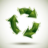 Green recycle geometric icon, 3d modern style Stock Photography