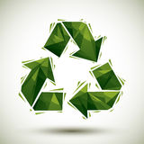Green recycle geometric icon made in 3d modern style, best for u Stock Photography