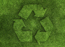 Green recycle grass. Logo recycle made with grass texture protect earth vector illustration