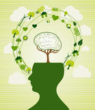 Green recycle head illustration Stock Photo