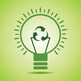 Green recycle icon make filament of an eco bulb Royalty Free Stock Images