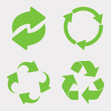 Green Recycle Icon Set Stock Images