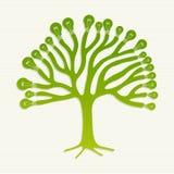 Green recycle light bulbs tree illustration Stock Photos