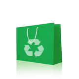 Green recycle paper shopping bag Stock Image
