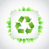 Green recycle sign leaves illustration Royalty Free Stock Image