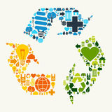 Green recycle symbol icons Stock Photo
