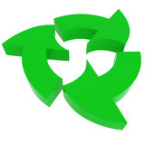 Green recycle symbol, isolated on white Stock Photography