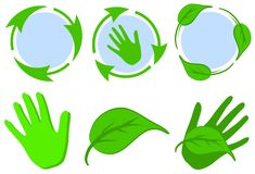 Green Recycle Symbols Leaves Hands Stock Photography