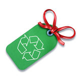 Green recycle tag bow sign environmental eco Stock Images