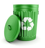 Green recycle trash can with lid 3d Royalty Free Stock Image