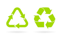 Green recycled vector icon Stock Image