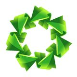 7 green recycling arrows Stock Photo