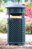 Green Recycling Bin. Outdoor Recycling Bin in a Park Setting Royalty Free Stock Image
