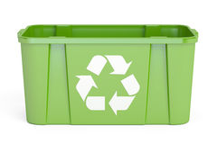 Green recycling bin, 3D rendering. On white background Stock Photo