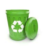 Green recycling bin Stock Photo