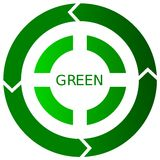 Green Recycling Button Icon. Illustration of a green environmental icon Stock Photography