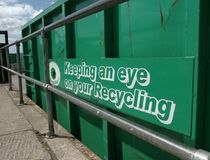 Green Recycling Container Stock Photo