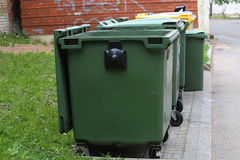 Green recycling container Stock Photos