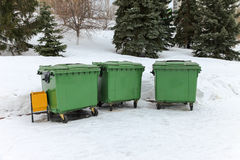 Green recycling containers in the park Stock Image