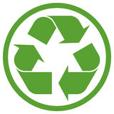 Green recycling sign in circle. Isolated on white background Stock Photos