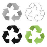 Green recycling sign icon in outline style isolated on white background. Bio and ecology symbol stock vector Stock Images