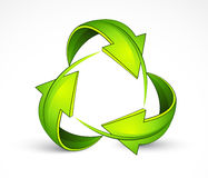 Green recycling symbol. Illustration of green directional arrows in shape of recycling symbol, isolated on white background Royalty Free Stock Photos