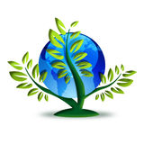 Green recycling symbol. Planet earth on top of a plant Royalty Free Stock Photo