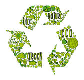 Green recycling symbol with environmental icons Royalty Free Stock Photo