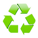 Green recycling symbol isolated on white. Ecology eco conservation recycling concept - green recycling symbol isolated on white background Stock Photo