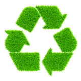 Green recycling symbol isolated on white. Ecology eco conservation recycling concept - green recycling symbol made of grass isolated on white background Royalty Free Stock Image