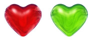 Green and red 3D hearts Royalty Free Stock Photo