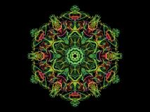 Green and red abstarct flame mandala flower, ornamental floral r. Ound pattern on black background stock illustration
