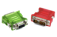 Green and red adapters Royalty Free Stock Image