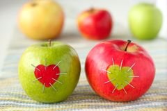 Green and red apple with Stock Photo