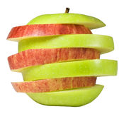 Green and red apple. Mixture of slices of red and green apple stock images