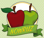 Green and Red Apple behind a Ribbon for Nowruz, Vector Illustration Royalty Free Stock Photo
