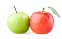 Green and red apple with leaf. On white background stock photography