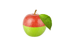Green and red apple with leaf isolated on white background Stock Photos