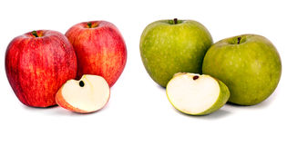 Green and red apple. Green and res apple tasty apples  on white Stock Photos