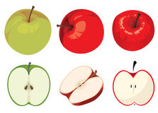 Green and Red Apple Set Royalty Free Stock Image