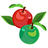 Green and red Apple, vector, cartoon style Royalty Free Stock Images