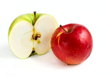 Green and red apples. Half a green apple and red apple Isolated on white background Royalty Free Stock Photography
