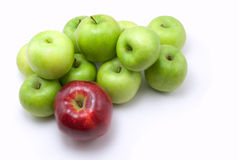 Green and red apples. On white stock photo