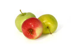 Green and red apples. On white Stock Images