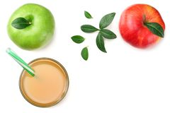 Green and red apples with apple juice isolated on white background. top view royalty free stock images
