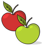 Apples illustration. Green and red apples illustration: Fresh apples cartoon Royalty Free Stock Images