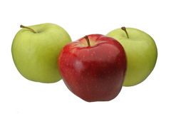 Green and Red apples isolated. 3 apples isolated on white background. Easily extracted Stock Image