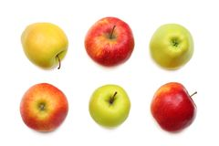 green and red apples isolated on white background. top view stock images